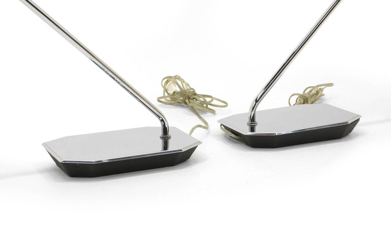 Pair of Koch and Lowy Table or Desk Lamps Chrome In Good Condition For Sale In Kansas City, MO