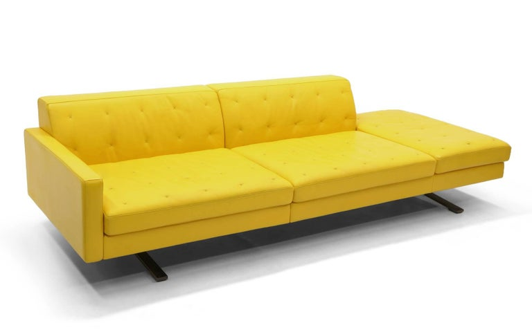 Yellow Leather Sofa by Jean-Marie Massaud for Poltrona Frau One Arm,  Beautiful
