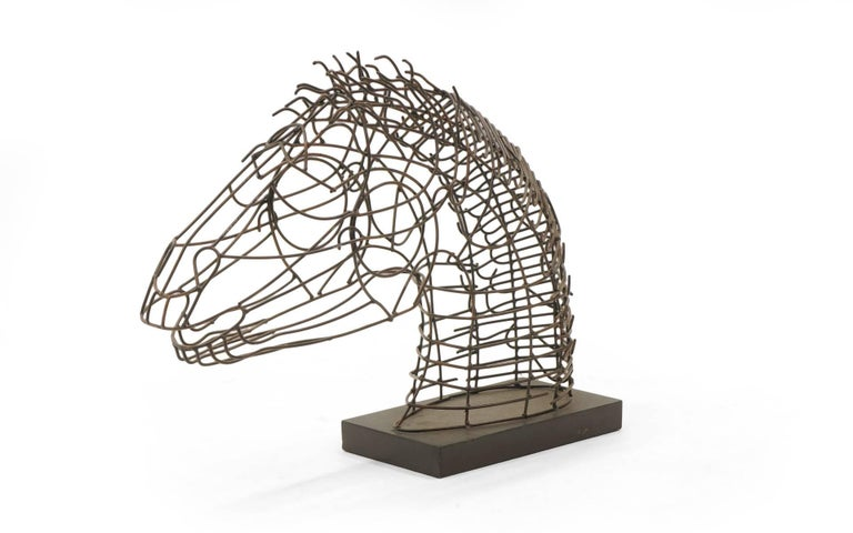 Large table top wire horse sculpture.  1960s.  Artist is unknown to us, but this is very well done and quite striking piece.
