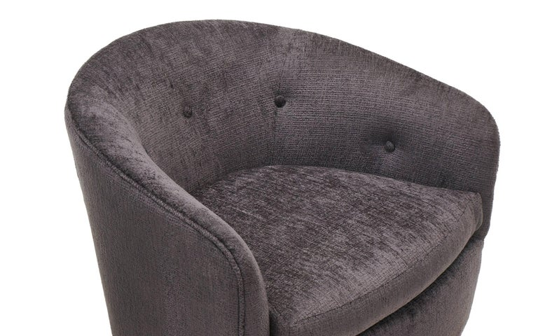 Upholstery Pair of Milo Baughman Tilt Swivel Club Chairs, Charcoal Robert Allen Chenille For Sale