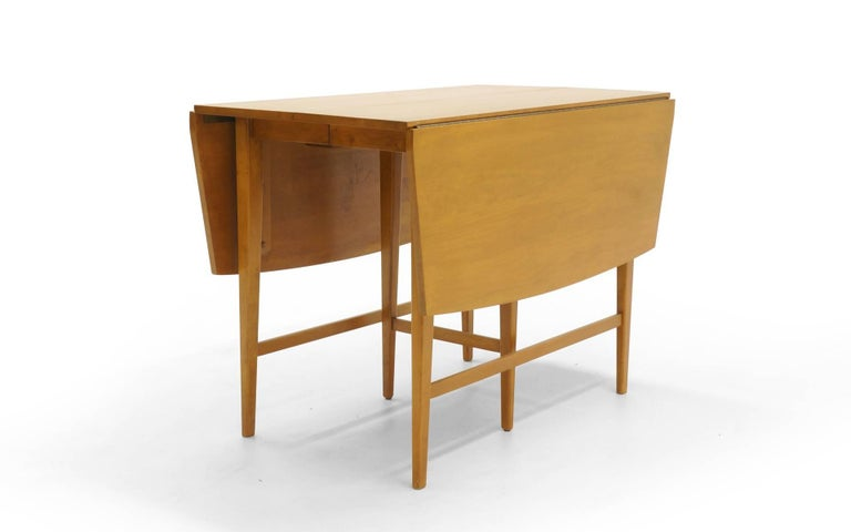 Mid-Century Modern Drop-Leaf Dining Table by Paul McCobb, Expandable with Three Leaves, Solid Maple For Sale