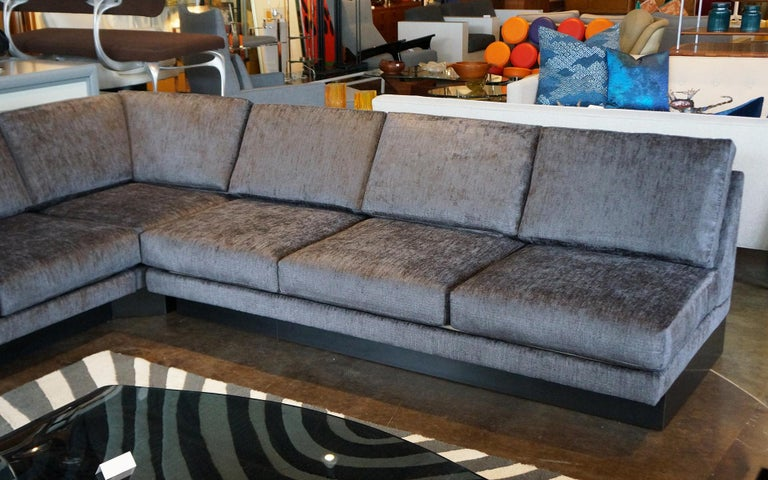 Mid-Century Modern Sectional Sofa by Milo Baughman, Restored, Robert Allen Grand Chenille Fabric For Sale