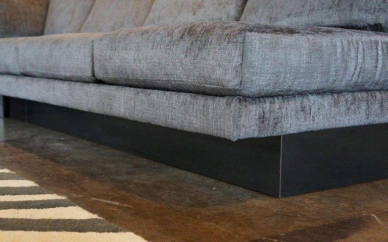 American Sectional Sofa by Milo Baughman, Restored, Robert Allen Grand Chenille Fabric For Sale