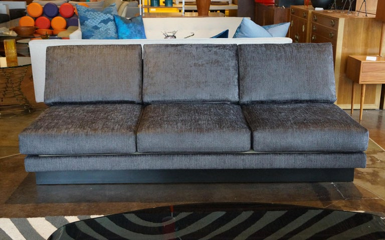 Sectional Sofa by Milo Baughman, Restored, Robert Allen Grand Chenille Fabric In Excellent Condition For Sale In Kansas City, MO