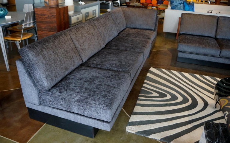 Mid-20th Century Sectional Sofa by Milo Baughman, Restored, Robert Allen Grand Chenille Fabric For Sale