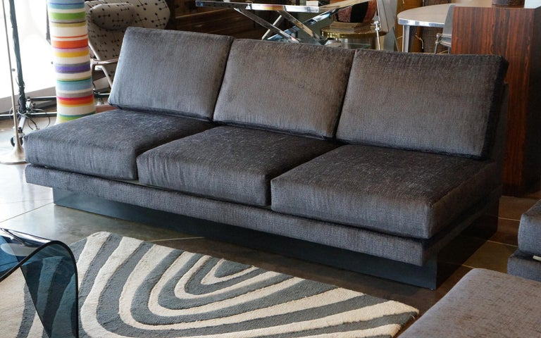 Wood Sectional Sofa by Milo Baughman, Restored, Robert Allen Grand Chenille Fabric For Sale