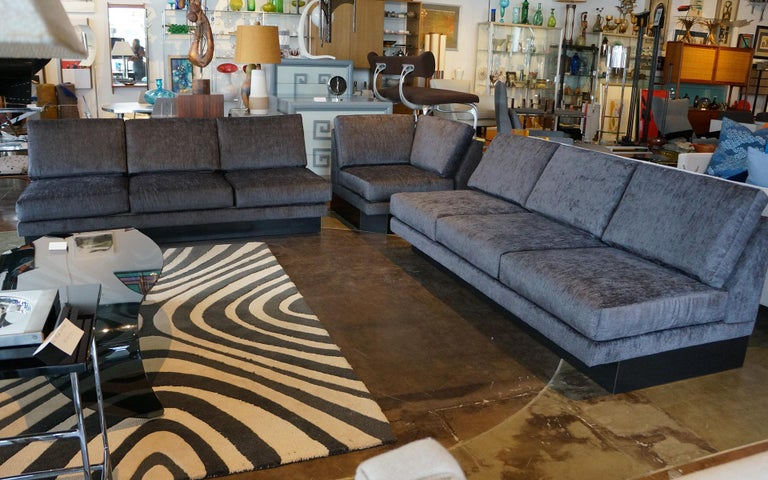 Sectional Sofa by Milo Baughman, Restored, Robert Allen Grand Chenille Fabric For Sale 1