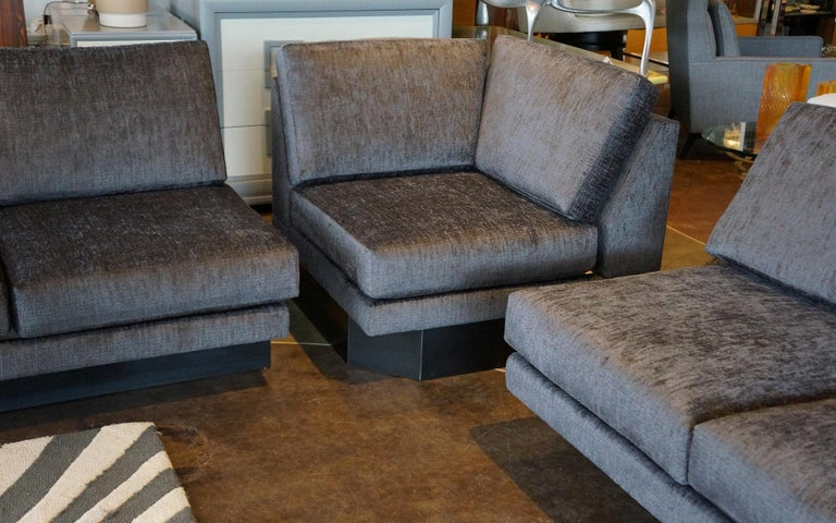 Sectional Sofa by Milo Baughman, Restored, Robert Allen Grand Chenille Fabric For Sale 2