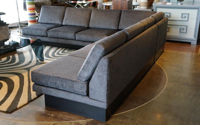 Sectional Sofa by Milo Baughman, Restored, Robert Allen Grand Chenille Fabric For Sale 3