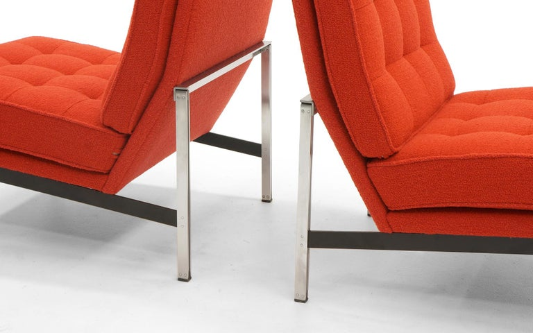 Upholstery Pair of Red Armless Lounge Chairs by Florence Knoll for the Parallel Bar Series For Sale