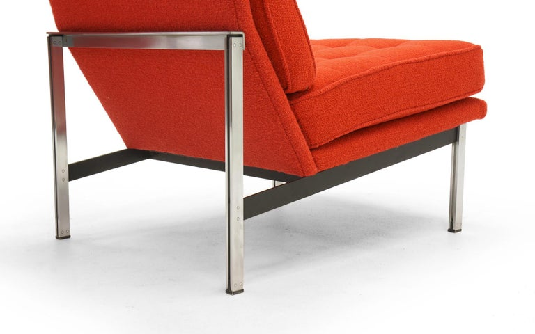 Pair of Red Armless Lounge Chairs by Florence Knoll for the Parallel Bar Series For Sale 1