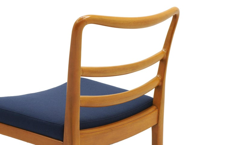 Six Dining Chairs by Edward Wormley, Large Scale, Bleached Mahogany, Blue Fabric For Sale 1