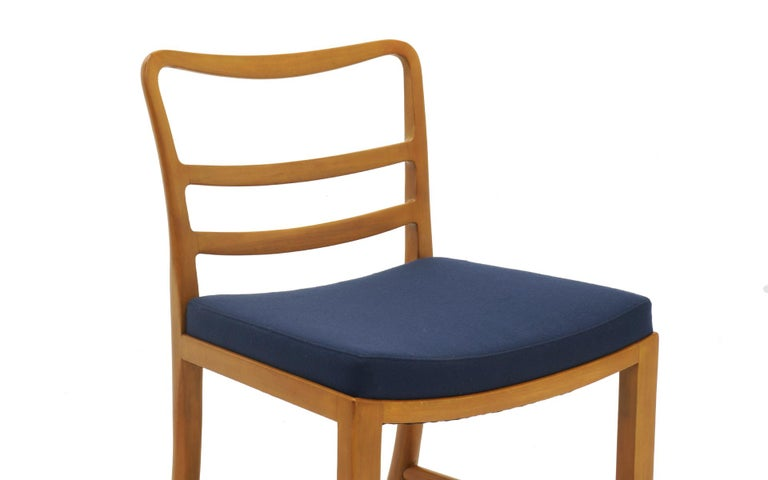 Mid-20th Century Six Dining Chairs by Edward Wormley, Large Scale, Bleached Mahogany, Blue Fabric For Sale