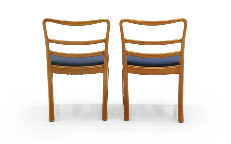 Six Dining Chairs by Edward Wormley, Large Scale, Bleached Mahogany, Blue Fabric In Good Condition For Sale In Kansas City, MO