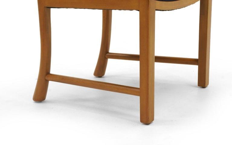 Six Dining Chairs by Edward Wormley, Large Scale, Bleached Mahogany, Blue Fabric For Sale 2