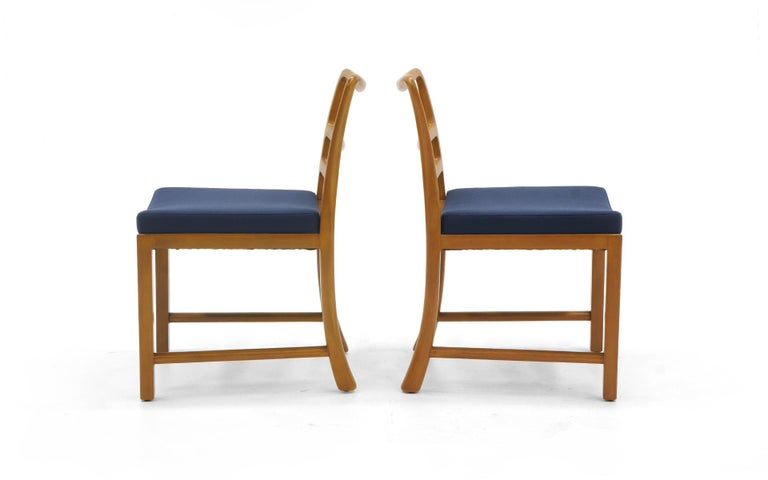 Mid-Century Modern Six Dining Chairs by Edward Wormley, Large Scale, Bleached Mahogany, Blue Fabric For Sale