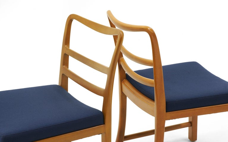 Upholstery Six Dining Chairs by Edward Wormley, Large Scale, Bleached Mahogany, Blue Fabric For Sale