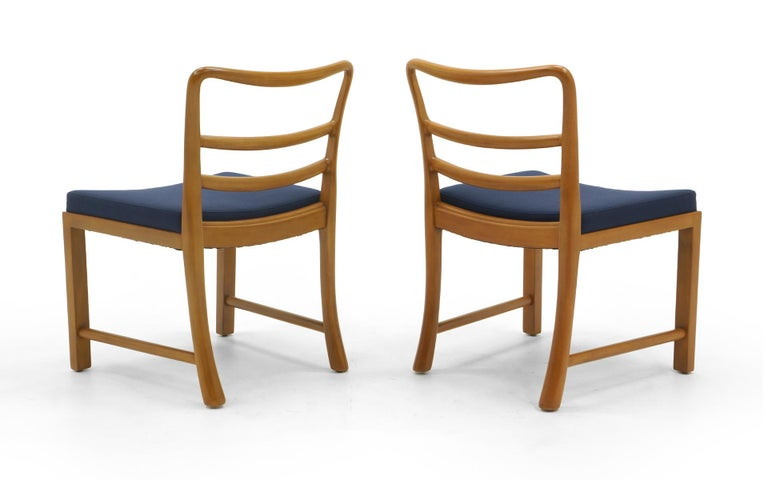 American Six Dining Chairs by Edward Wormley, Large Scale, Bleached Mahogany, Blue Fabric For Sale