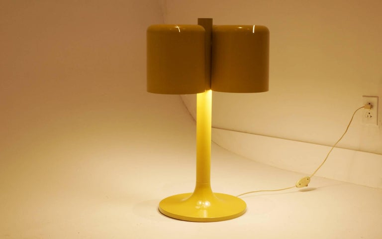 Aluminum Neal Small Large Table Lamp, Three Original Mustard Yellow Color Shades For Sale