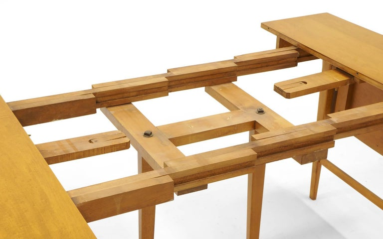 Drop-Leaf Dining Table by Paul McCobb, Expandable with Three Leaves, Solid Maple For Sale 6