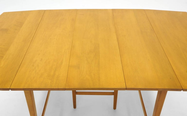 Drop-Leaf Dining Table by Paul McCobb, Expandable with Three Leaves, Solid Maple For Sale 3