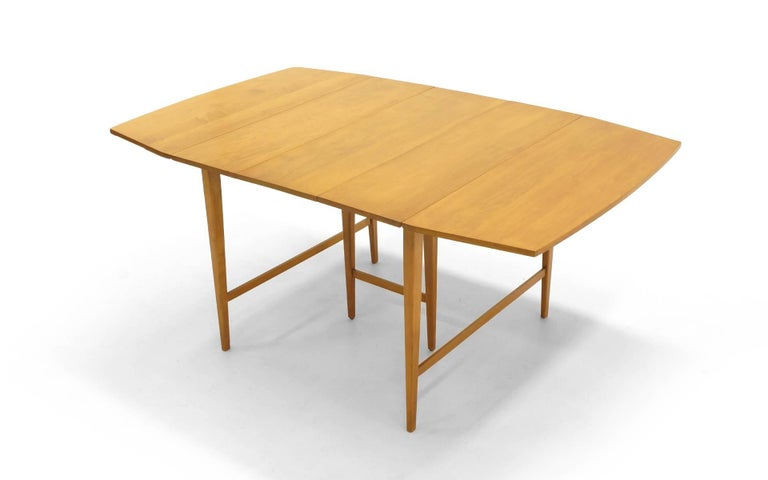 Drop-Leaf Dining Table by Paul McCobb, Expandable with Three Leaves, Solid Maple For Sale 1