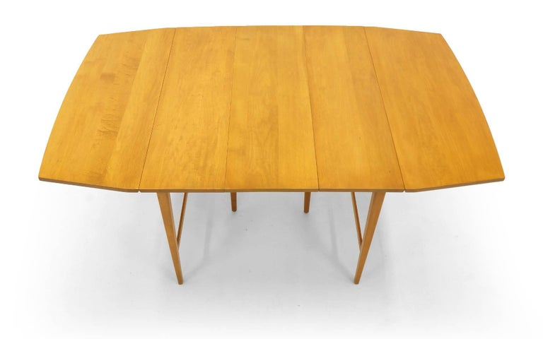 Drop-Leaf Dining Table by Paul McCobb, Expandable with Three Leaves, Solid Maple For Sale 2