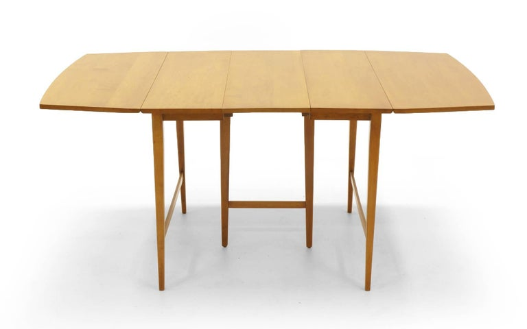 Mid-20th Century Drop-Leaf Dining Table by Paul McCobb, Expandable with Three Leaves, Solid Maple For Sale