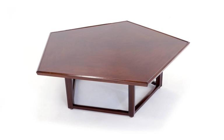 All original, signed, Dunbar pentagonal coffee table designed by Edward Wormley. Beautiful patina on the original finish.