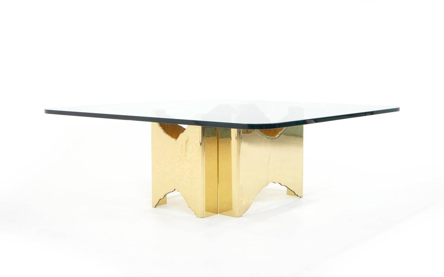 one of a kind brass and glass coffee table with two piece