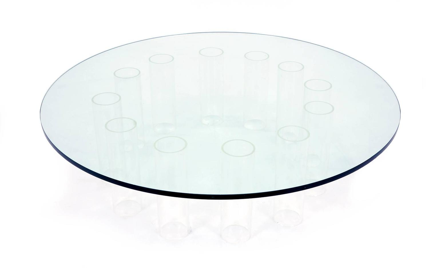 Round coffee table with glass top and lucite base at 1stdibs - Table base for round glass top ...