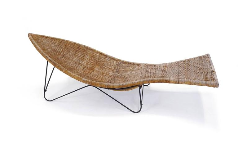 Pair of wicker or cane and iron fish shaped outdoor or for L fish furniture