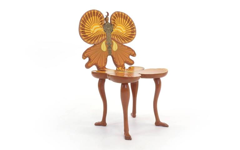 Pedro Friedeberg butterfly chair, 1983, Mexico City. Hand-painted with appropriated ornaments. Signed.