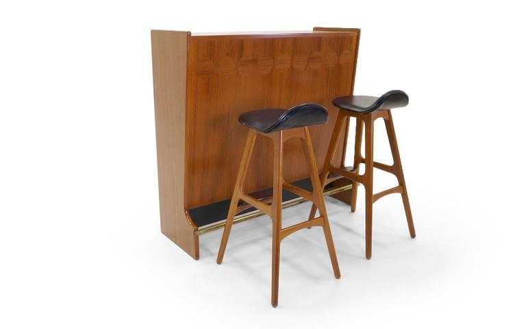 Teak Dry Bar By Johannes Anderson And Pair Of Erik Buch