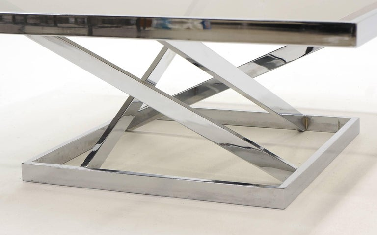 American Square Chrome and Smoked Gray Glass Coffee Table Attributed to Milo Baughman For Sale