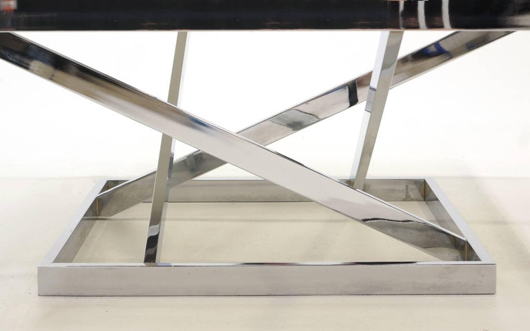 Square Chrome and Smoked Gray Glass Coffee Table Attributed to Milo Baughman For Sale 1