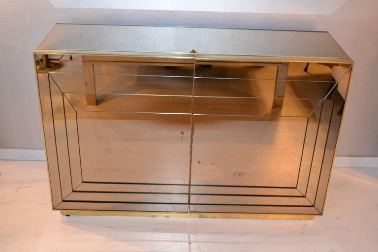 Beau Small Antique Brass Medicine Cabinet: 1970s Mirrored And Brass Cabinet At 1stdibs