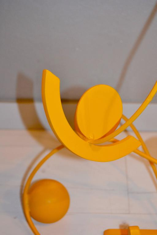 Yellow Stainless Steel Sculpture by Caporicci For Sale 2