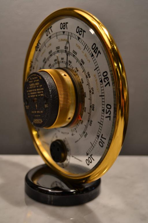 Mid-20th Century 1940s Jaeger Desk Top Barometer and Thermometer For Sale
