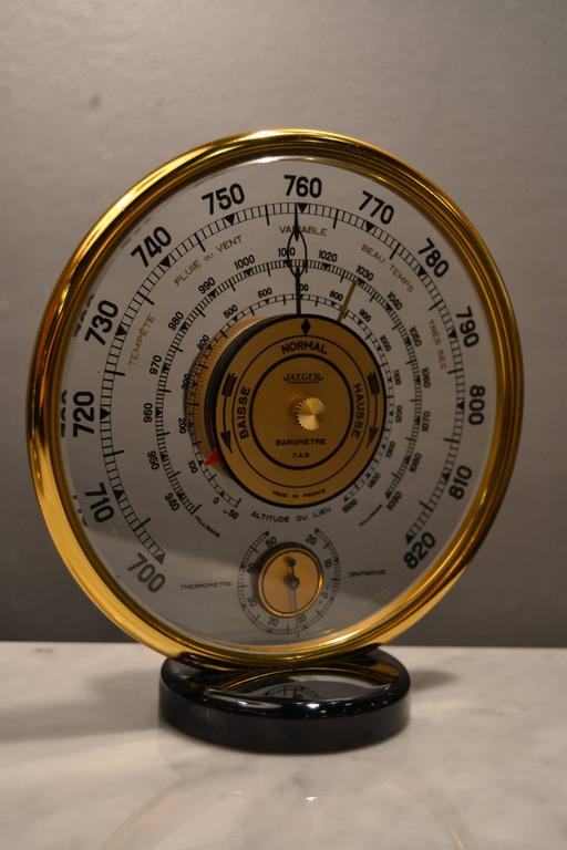 Bakelite 1940s Jaeger Desk Top Barometer and Thermometer For Sale