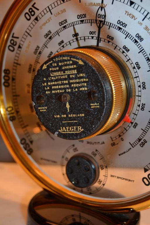 1940s Jaeger Desk Top Barometer and Thermometer For Sale 3