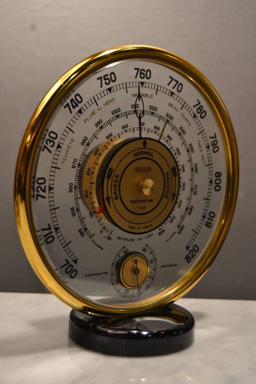 1940s Jaeger Desk Top Barometer and Thermometer For Sale 2