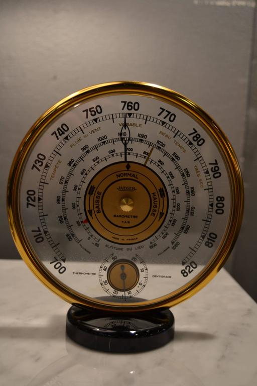 Mid-Century Modern 1940s Jaeger Desk Top Barometer and Thermometer For Sale