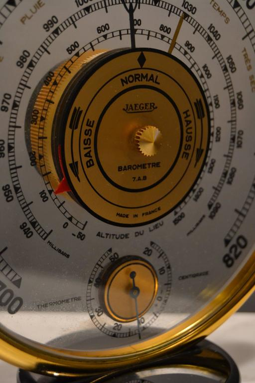 French 1940s Jaeger Desk Top Barometer and Thermometer For Sale