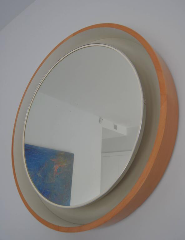 1970s Large Lighted Round Mirror At 1stdibs