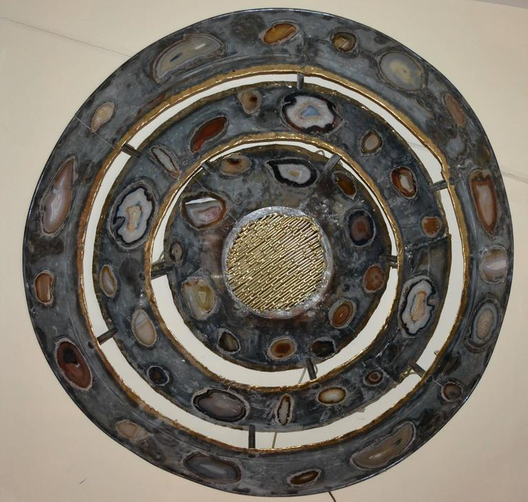 1970s Large Wall Light with Agates Inlaid by Henry Fernandez For Sale 1