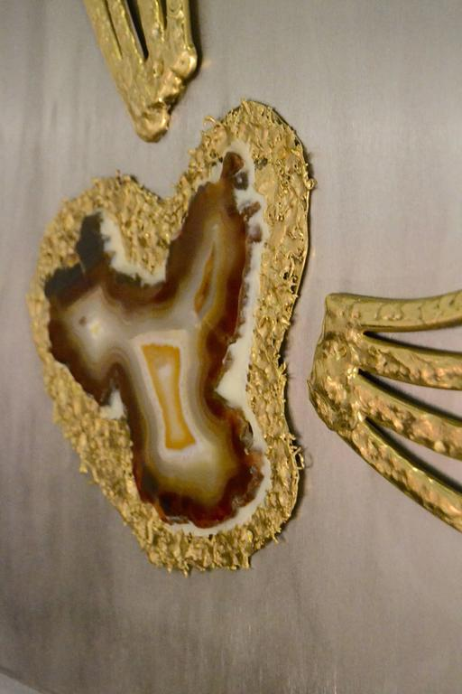 1970s Agate and Brass Panel by Henri Fernandez For Sale 1