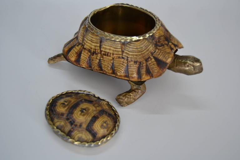 Mid-Century Modern 1970s Turtle Shell and Bronze Box For Sale