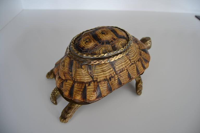 1970s turtle shell box with bronze and brass details. Great vintage condition.