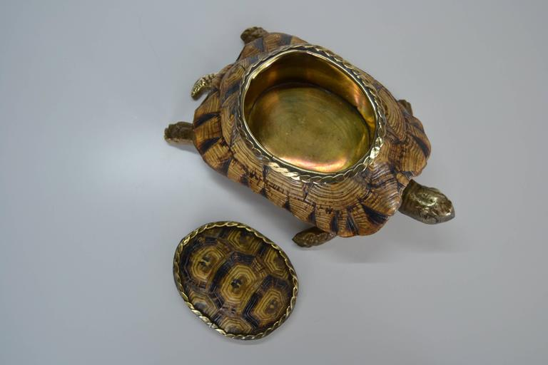 Italian 1970s Turtle Shell and Bronze Box For Sale